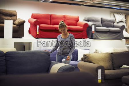 woman shopping for furniture and home