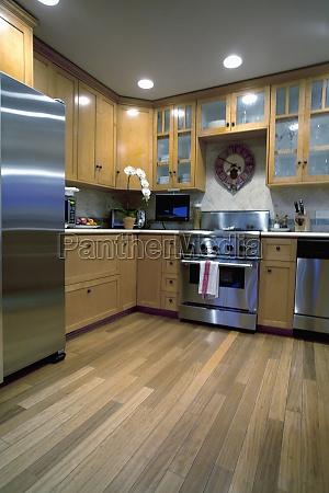 hardwood floor in traditional kitchen laguna