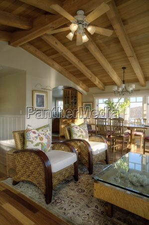 wooden ceiling in traditional living room