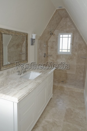 shower and sink in traditional bathroom