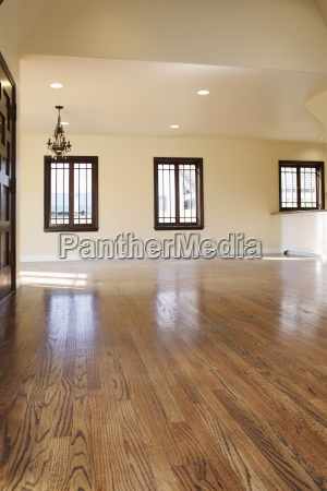harwood floor and chandelier in empty