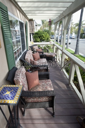 wicker chairs at porch laguna beach