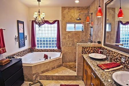 tiled master bathroom laguna beach california