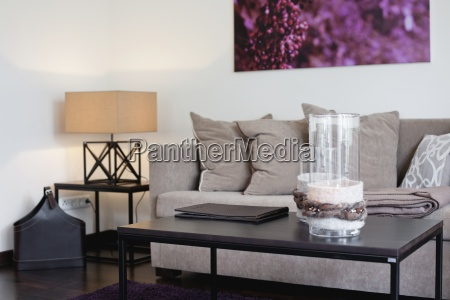 glass decor on coffee table in