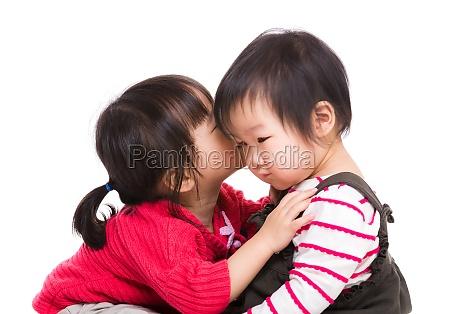 asian sister kiss her litter sister