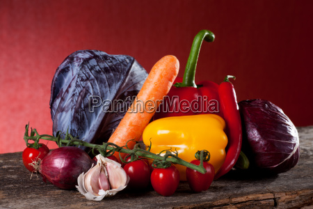 mixed vegetables on wood
