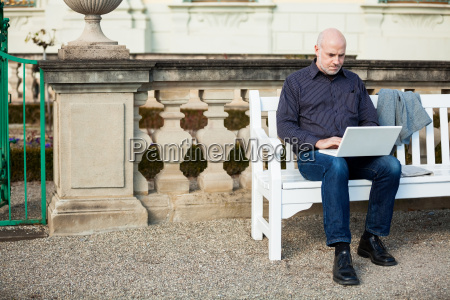 businessman senior with notebook laptop