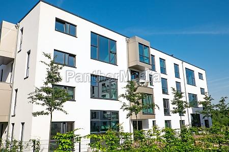 modern white apartment building