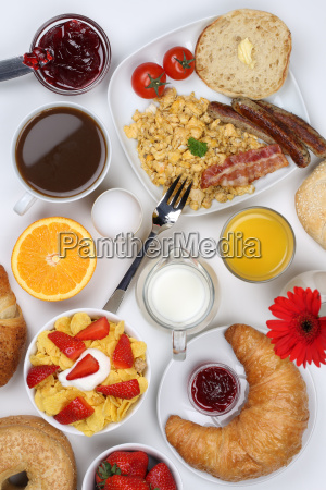 breakfast table with cereal coffee fruit