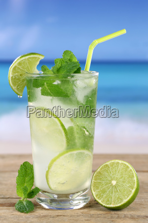 mojito or caipirinha cocktail on the