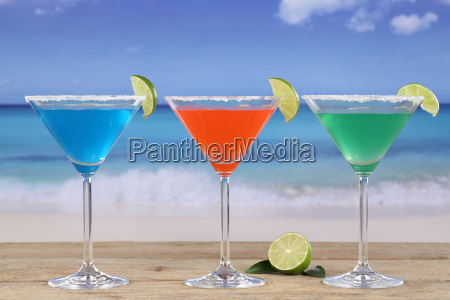 martini cocktails on the beach on