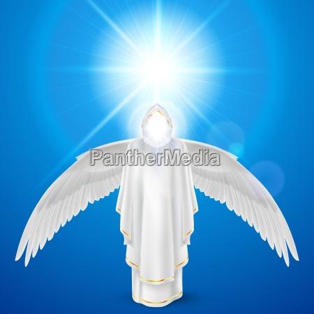 white angel against sky background