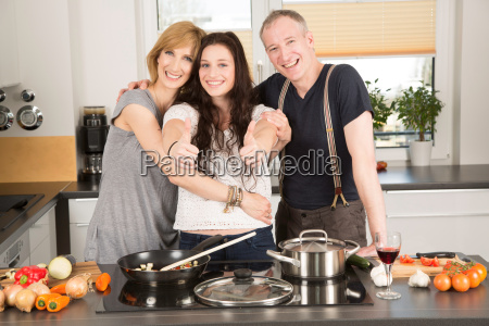 family cooks together