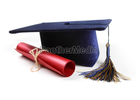 graduation hat and diploma isolated on