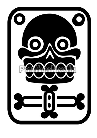 aztec stamp with skull