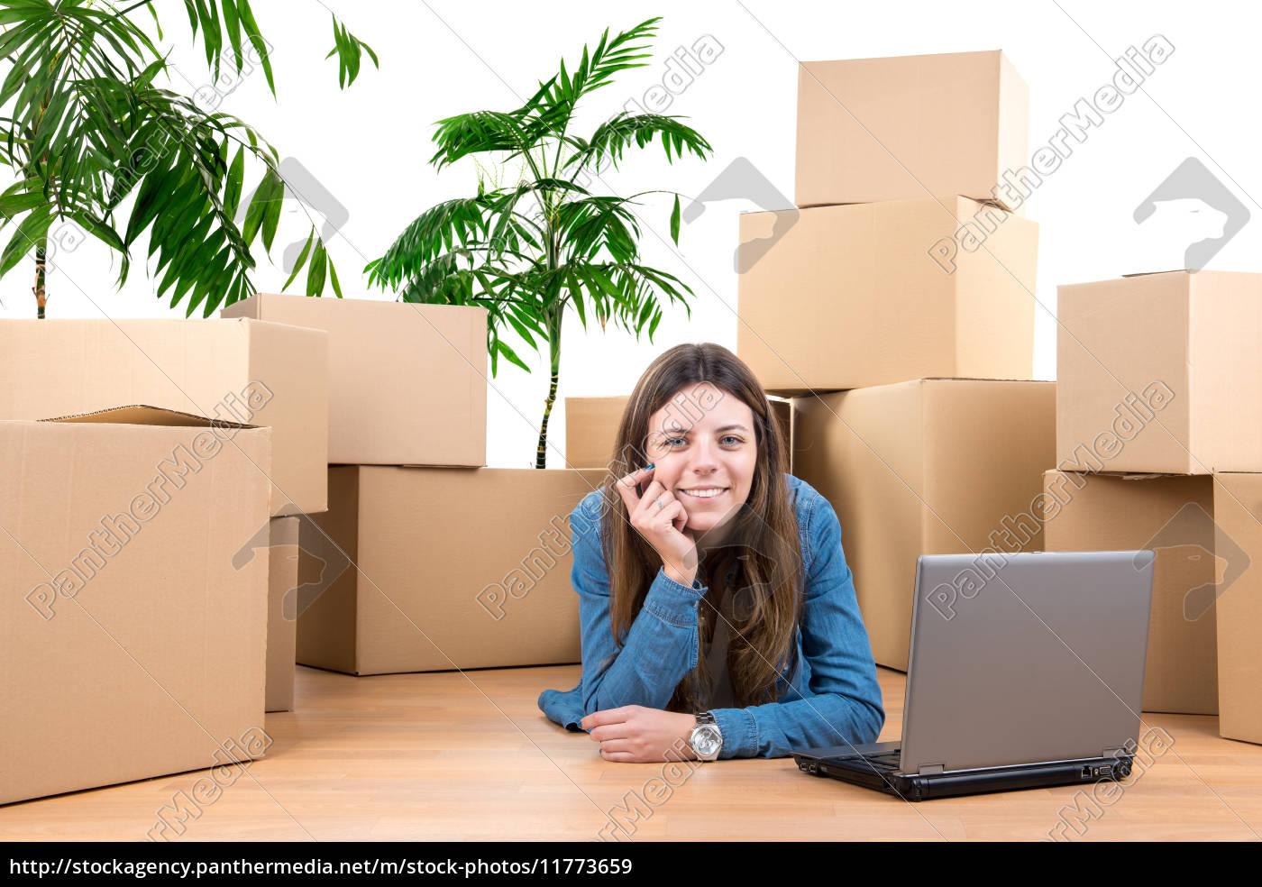 girl, with, boxes - 11773659