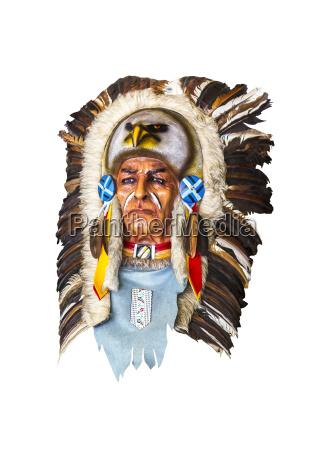 wood carved indian chief head on