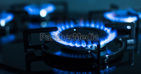 flames of gas stove shallow dof