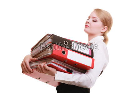 paperwork businesswoman carrying stack of documents