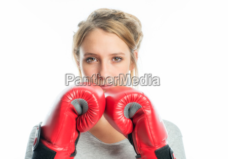 blond girl with boxing gloves