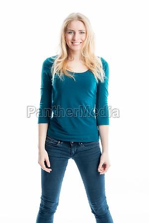 blonde slim girl in jeans