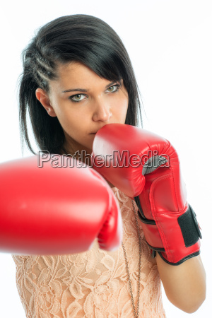 black haired girl with boxing gloves