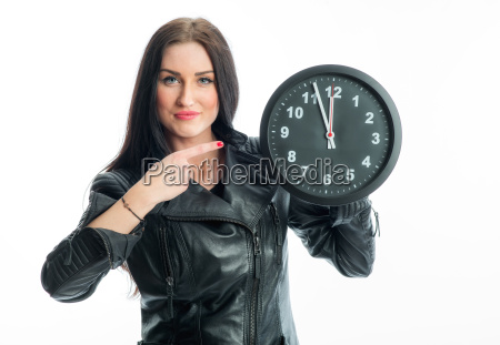 race woman with wall clock