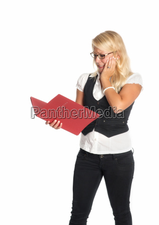 blonde woman with application portfolio