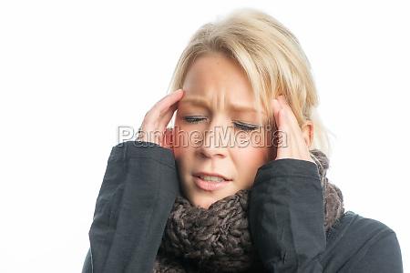 blonde woman with headache