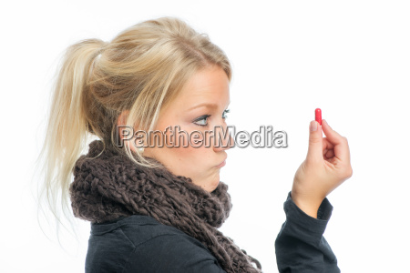 sick blonde woman with medications