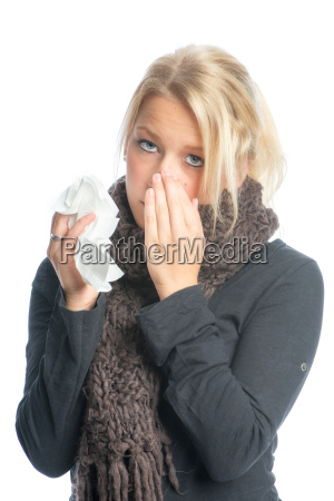 sick blond woman with handkerchief