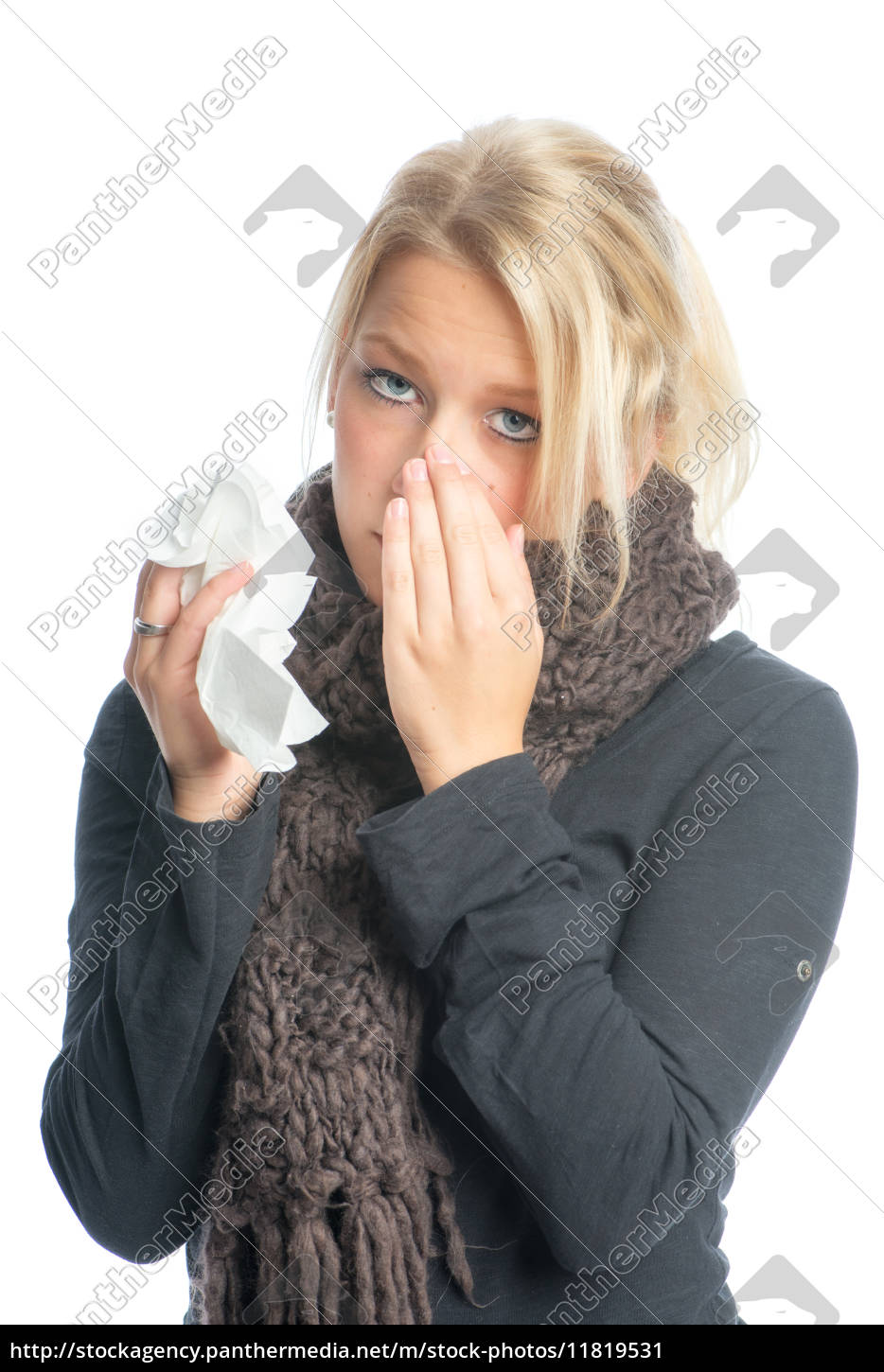 sick, blond, woman, with, handkerchief - 11819531