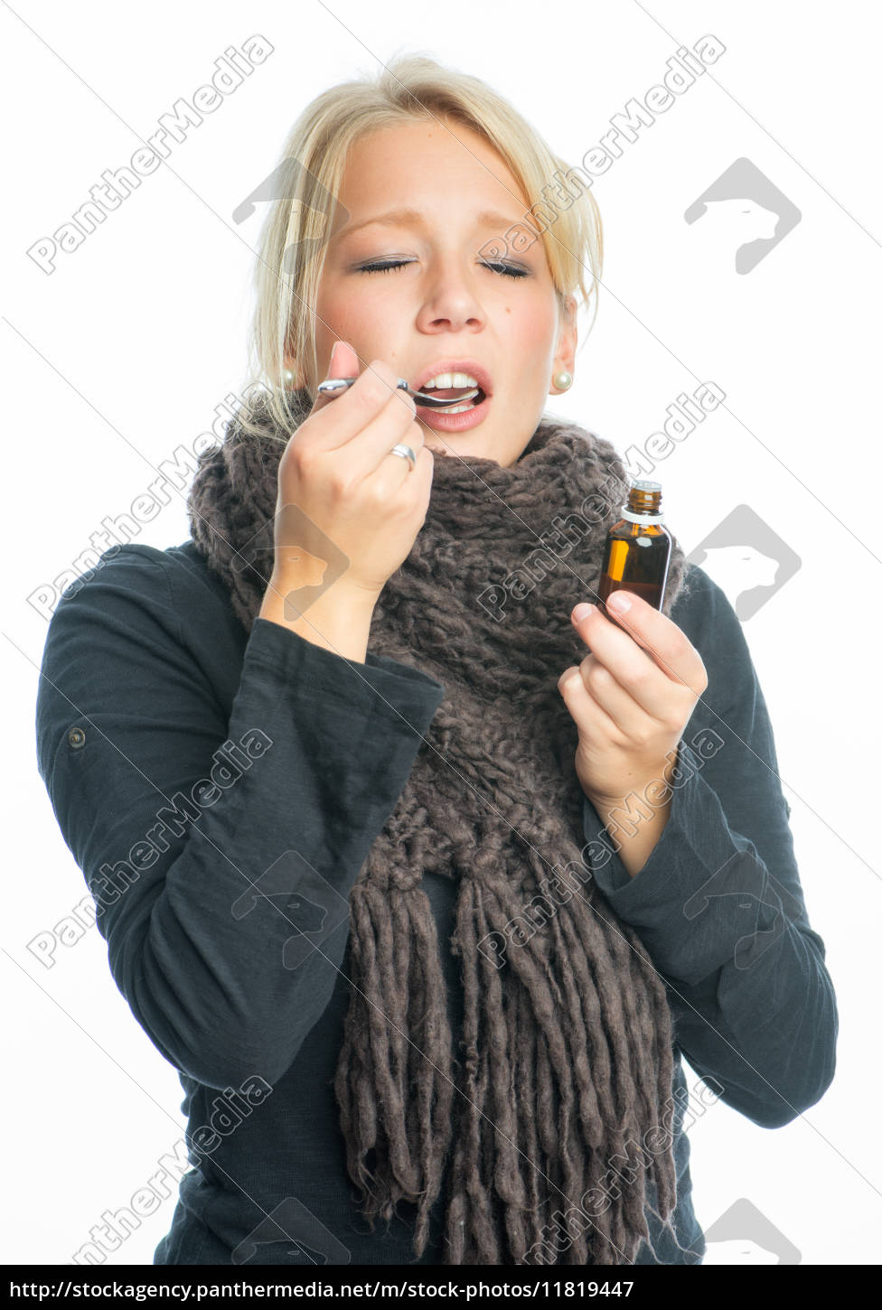 sick, woman, with, cough, drops - 11819447