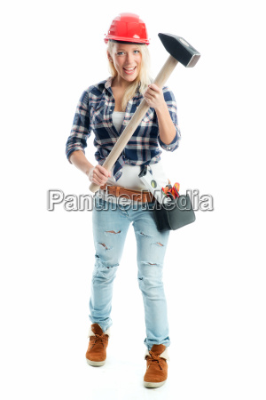 female craftsman with sledgehammer