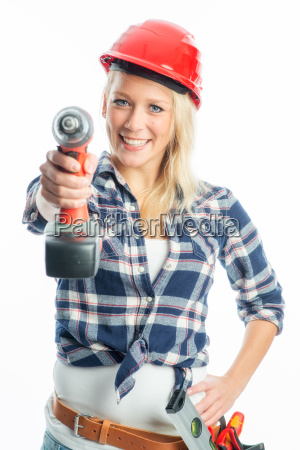 female craftsman with cordless screwdriver and