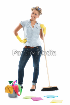 housewife with bucket and broom