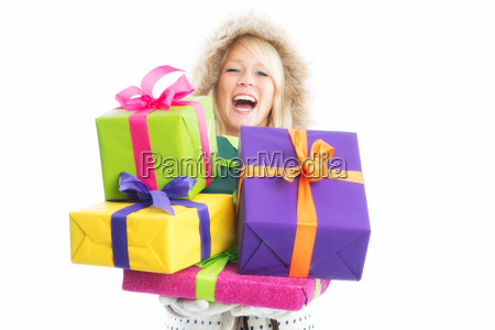 christmas woman with gifts