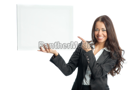 businesswoman holds advertising poster