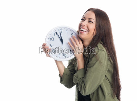 laughing woman with clock