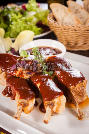grilled pork ribs spareribs with barbecue