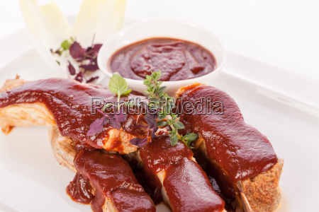 grilled pork ribs with barbecue sauce