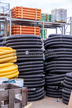 coiled yellow and black plastic rubber