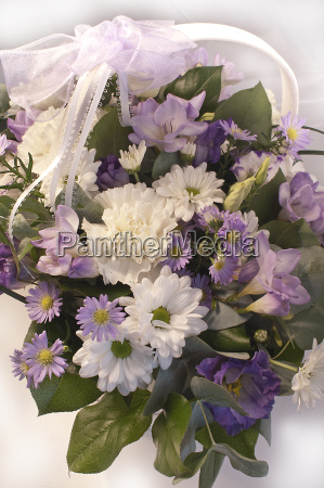 flower bouquet in a basket with