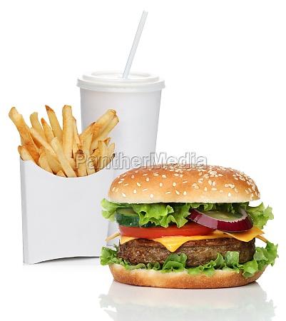 hamburger com batatas fritas e bebida