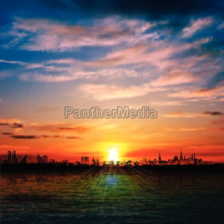 abstract nature background with panorama of
