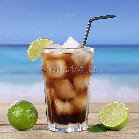 cola or cuba libre cocktail drink