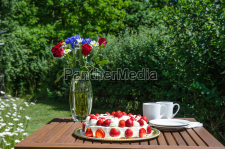 made summer table in garden
