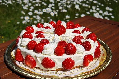 homemade cake with cream and strawberries