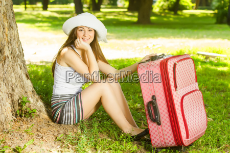 attractive woman traveling