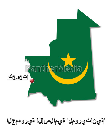 map of mauritania in colors of